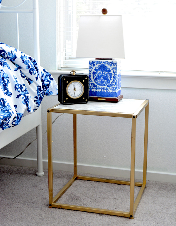DIY Gold and Faux Marble Nightstand