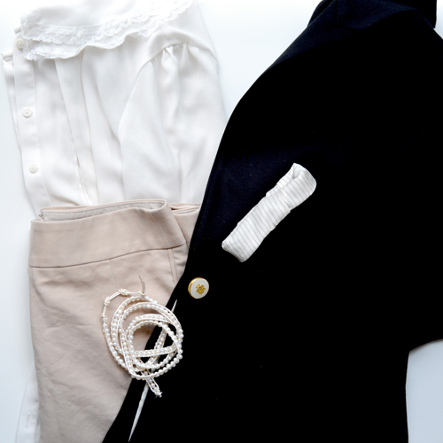 """Dressing for work can be a hard task – you want to retain your style but look professional at the same time. If I had one piece of advice to someone who's shopping for work outfits, it's this: """"Dress for the job you want, not the one you have"""". Not everyone has an unlimited budget to shop for professional outfits, so I'm sharing how I recently revamped my wardrobe for under $200 – and how you can do it, too! My idea utilizes a """"capsule"""" type wardrobe for my work outfits. A capsule wardrobe is an idea that you buy the minimum amount of clothes needed but here's the thing: every piece you purchase has been carefully considered for versatility purposes. The more versatile a piece is, the more outfits you can create with it! Here are my essentials for creating a perfect fall capsule work wardrobe. Fall Capsule Work Wardrobe TOPS -White silky button down blouse -Blue gingham/seersucker button-down dress shirt -Black sweater BOTTOMS -Tan pencil skirt -Black skinny dress pants -Grey flared suit-style dress pants OUTERWEAR -Black blazer -Cream blazer -Tweed overcoat SHOES -Black pumps -Nude pumps -Smoking flats DRESSES -Black A-line dress -Tan a-line dress ACCESSORIES -Blackwork bag -Black and gold watch -Nylons (and lots of them) Here are a few of my favorite outfit combinations: I know it may seem like a lot – or maybe too little! – but this is a good start or just all you'll need to create outfits for work. This is doable for under $200, and I know this because I did it! All it takes is a little creative shopping but you can find affordable pieces to fulfill this capsule wardrobe. My best recommendation is outlet malls, specifically Gap stores and The Limited. I've found most of the items above when The Limited does their 50% off clearance sales. Last time, I picked up a pencil skirt, dress pants, jeans, white button-down, and a sweater for under $55 including tax. But, if you're under a time crunch or don't have good stores near you, here are a few of my favorite picks """
